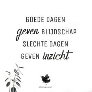 quote, de geluksvogel, geluk, gelukkig, spreuk, goede dagen geven blijdschap slechte dagen geven inzicht